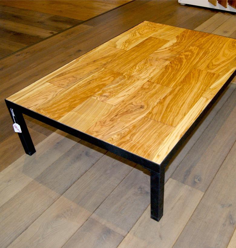 table basse m tal noir mat bois olivier d coration. Black Bedroom Furniture Sets. Home Design Ideas