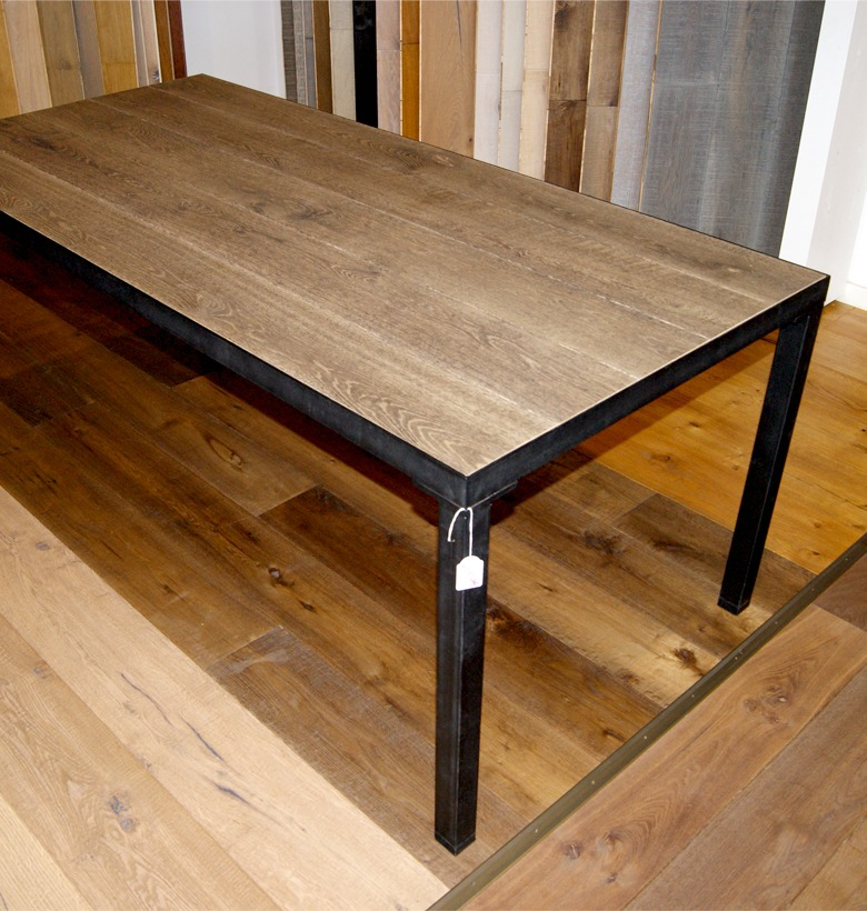 table basse m tal noir mat vieux bois gris d coration steel wood d co. Black Bedroom Furniture Sets. Home Design Ideas